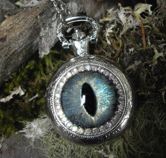 Gothic Steampunk Milky Blue Evil Eye Silver Pocket Watch