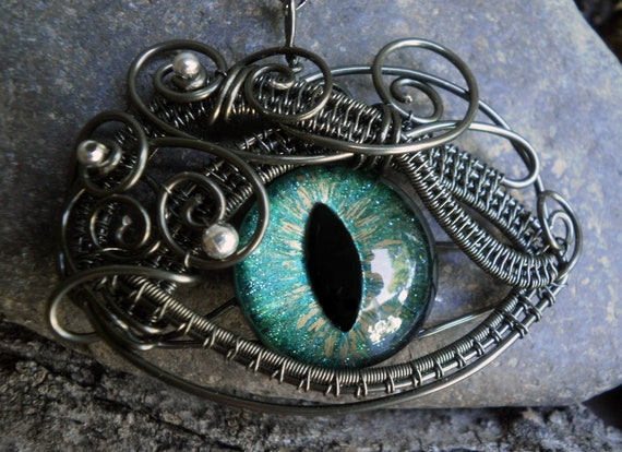 Gothic Steampunk Medium Blue Green Eye Pendant