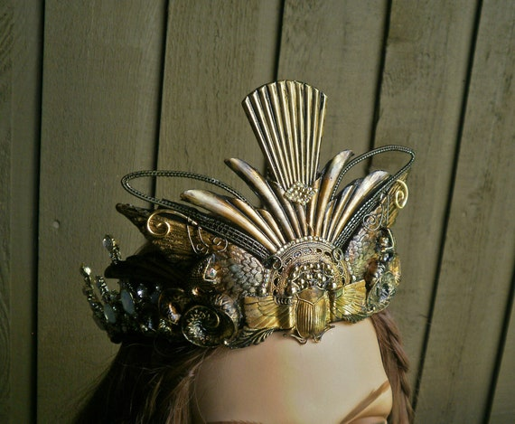 Gothic Steampunk Princess Crown with Snakes and Wings Small Size