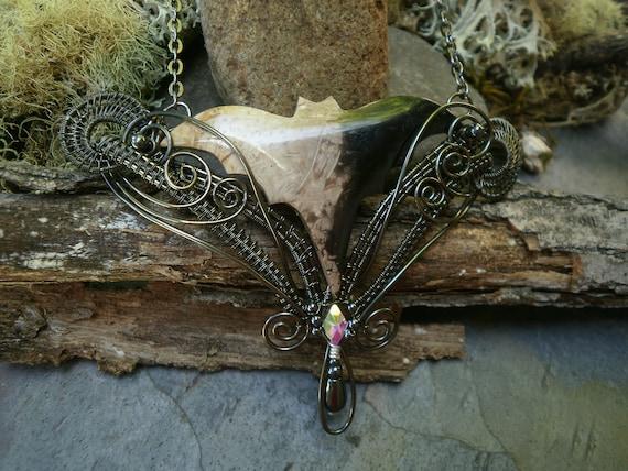 Gothic Steampunk Black and White Palm Stone Bat with Tiny Rhinestone