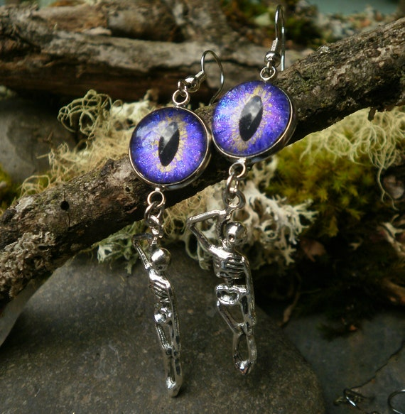 Gothic Steampunk Purple Lavender Evil Eye and Hanging Skeleton Earrings Creepy