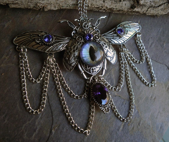 SALE! 30% OFF! Gothic Steampunk Beetle Bug Eye Necklace with Chains and Cubic Zirconia Stones