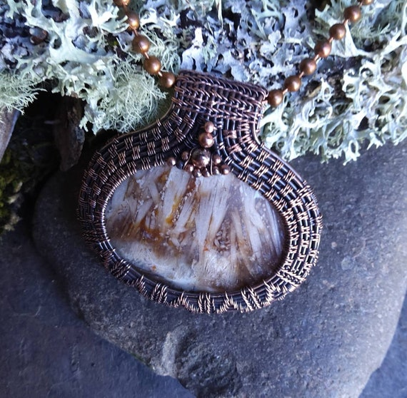 Copper Pendant Necklace with Agate