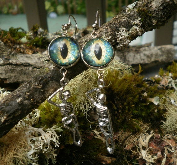 Gothic Steampunk Turquoise Green Evil Eye and Hanging Skeleton Earrings Creepy