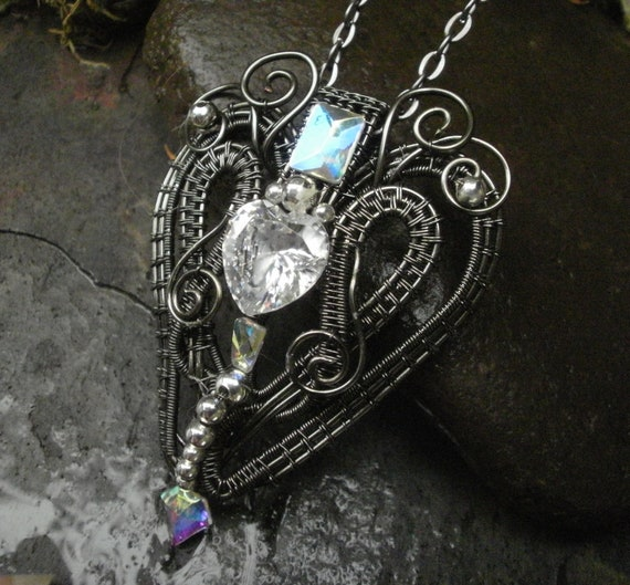 Gothic Victorian Heart Pendant with AAA Cubic Zirconia