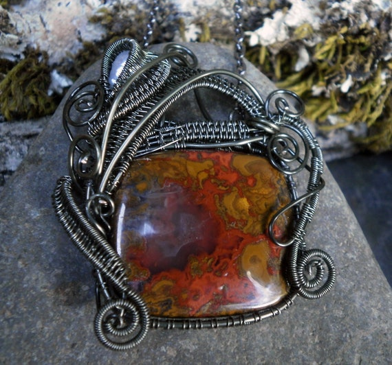 Moroccan Agate, Pearl and Dark Silver Wire Pendant on a 20 inch Chain
