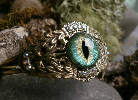 Gothic Steampunk Green Eye Bracelet Cuff Adjustable 6 1/2 to 7 1/2 inches