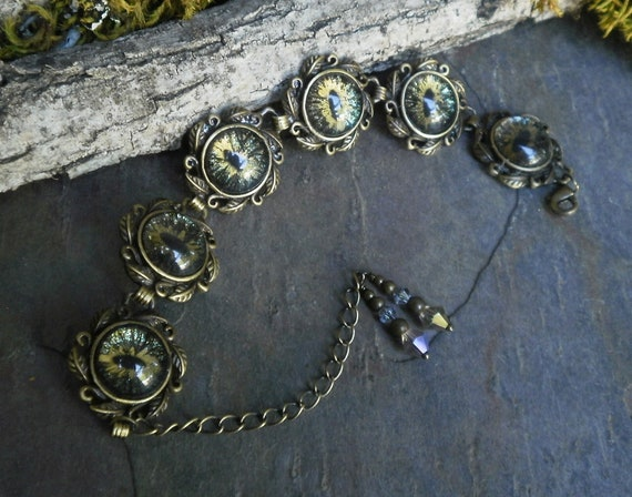 Gothic Steampunk Six Eye Galaxy Black Adjustable Bracelet