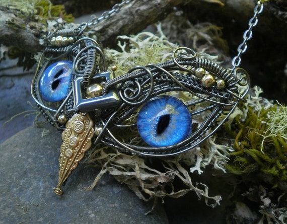 Gothic Steampunk Twisted Sister Arts Baby Owl Necklace with Light Blue Eyes