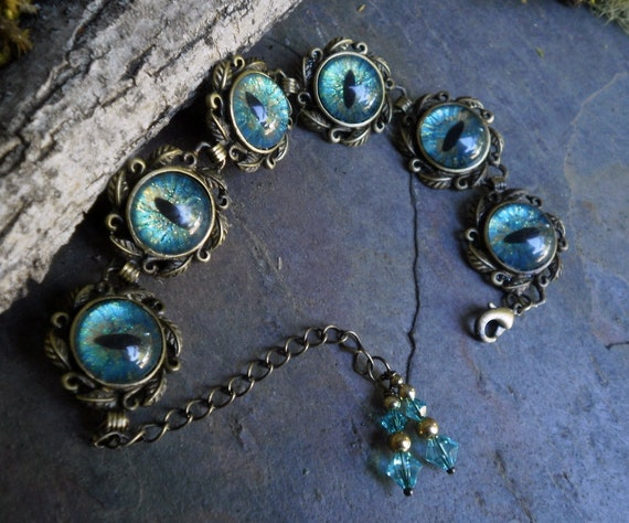 Gothic Steampunk Six Eye Turquoise Blue Adjustable Bracelet