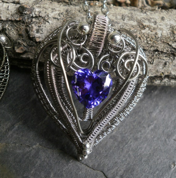 Gothic Heart Pendant with Violet Purple Cubic Zirconia