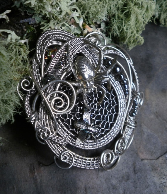 Gothic Steampunk Spider and the Fly Part 3 Pin Pendant Brooch