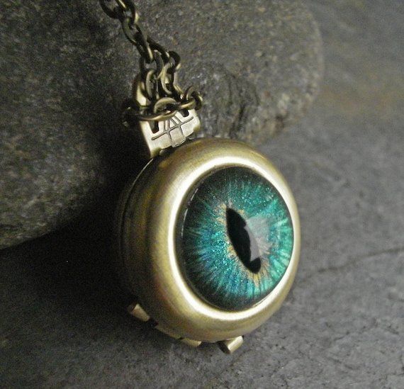 Gothic Steampunk Blue Green Evil Eye 4 Way Locket