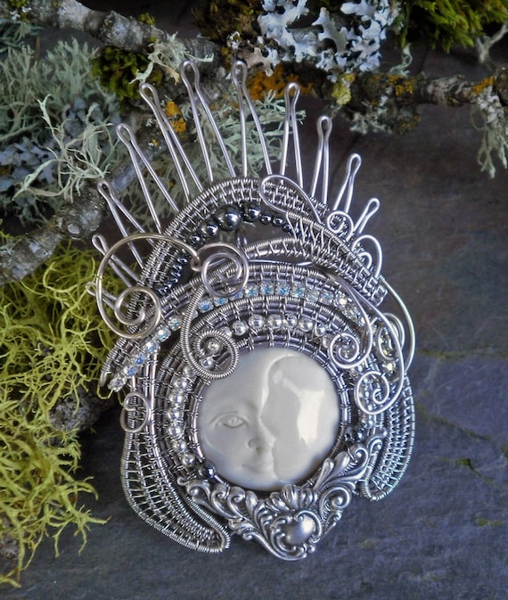 Gothic Steampunk Moon Queen Pin Pendant Brooch