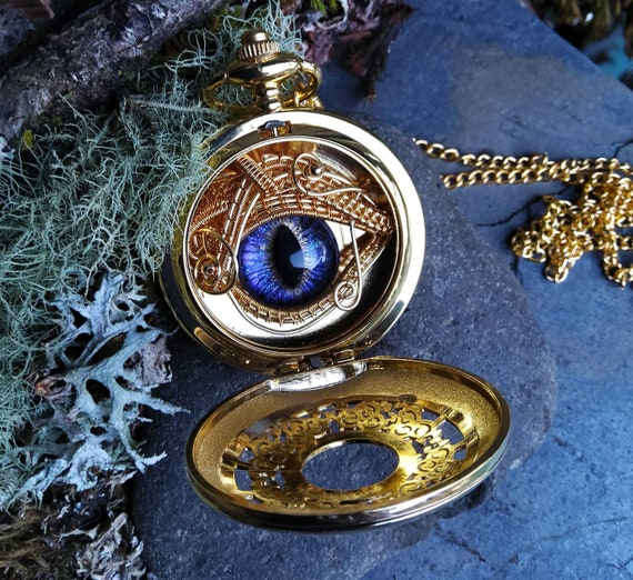 Gothic Steampunk Golden Pocket Watch Case with Peeking Purple Blue Eye