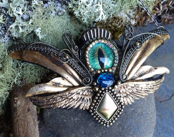 Gothic Steampunk Blue Green Abalone and Evil Eye Necklace