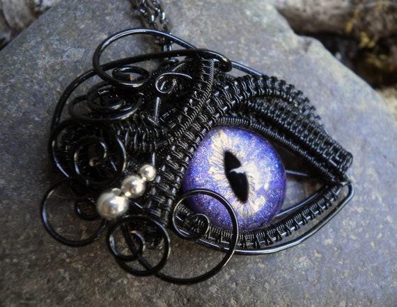 Gothic Steampunk Small Purple Eye Pendant
