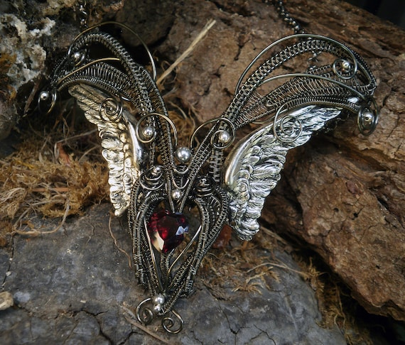 Gothic Steampunk Dark Heart Winged Necklace