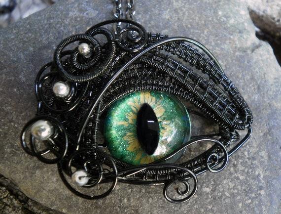Gothic Steampunk Small Blue Green Eye Pendant