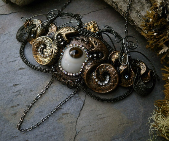 Gothic Steampunk Brown Eye, Rhinestones and Snakes Necklace