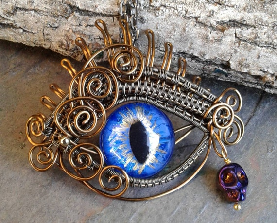 Gothic Steampunk Blue Evil Eye Pendant
