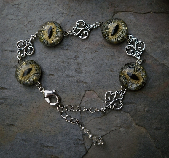 Gothic Steampunk Silver Gold Eye Adjustable Bracelet