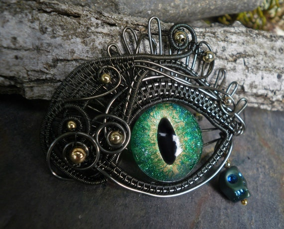 Gothic Steampunk Evil Eye Dark Silver with Tiny Reversable Skull