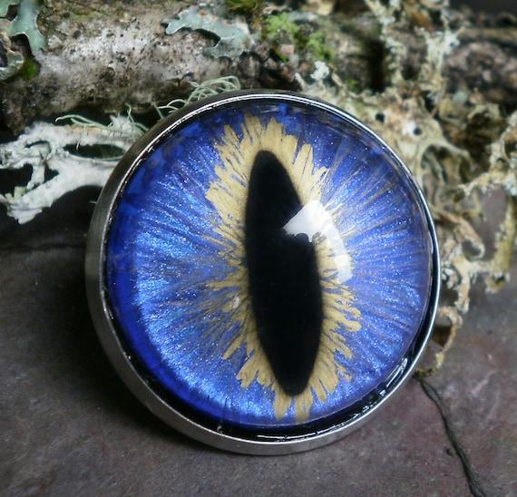 Gothic Steampunk Periwinkle Blue Eye Pin Brooch