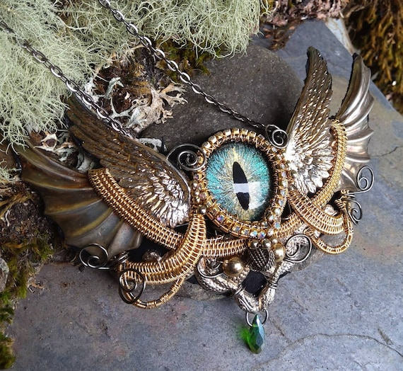 Gothic Steampunk Blue Green Dragon Eye Snake Winged One