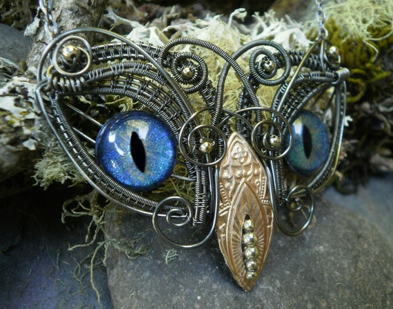 Gothic Steampunk Twisted Sister Arts Baby Owl Necklace with Dark Blue Eyes