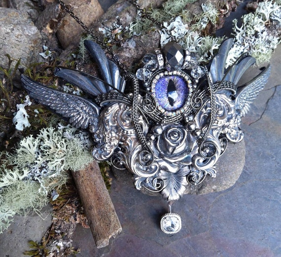 Gothic Steampunk Dark Silver Necklace with Light Purple Eye