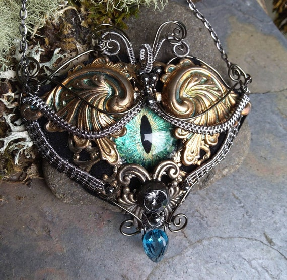 Gothic Steampunk Blue Green Dragon Eye Necklace