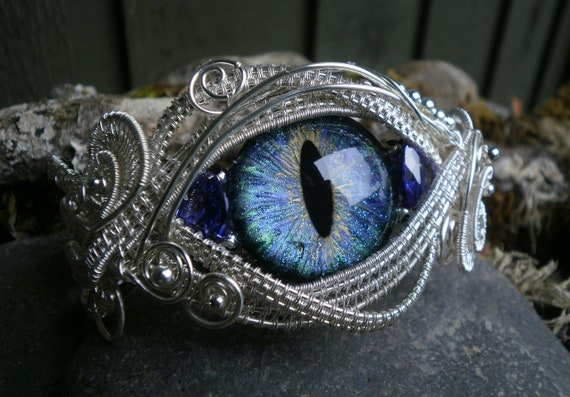 Gothic Steampunk Blue Eye Bracelet with Trillion Cubic Zirconia Size 7 1/2 to 8