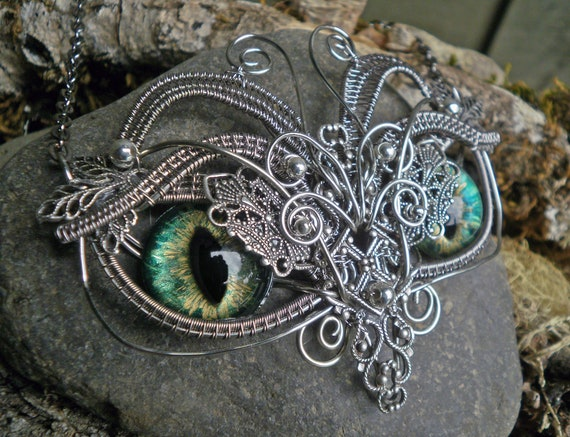 Gothic Steampunk Green Eye Owl Necklace