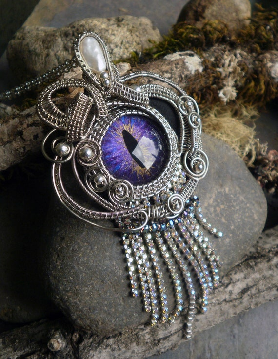 Gothic Steampunk Antique Silver Purple Blue Eye Pendant with Pearl and Rhinestones
