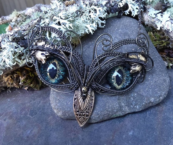 Gothic Steampunk Twisted Sister Arts Baby Owl Necklace with Dark Blue Green Eyes