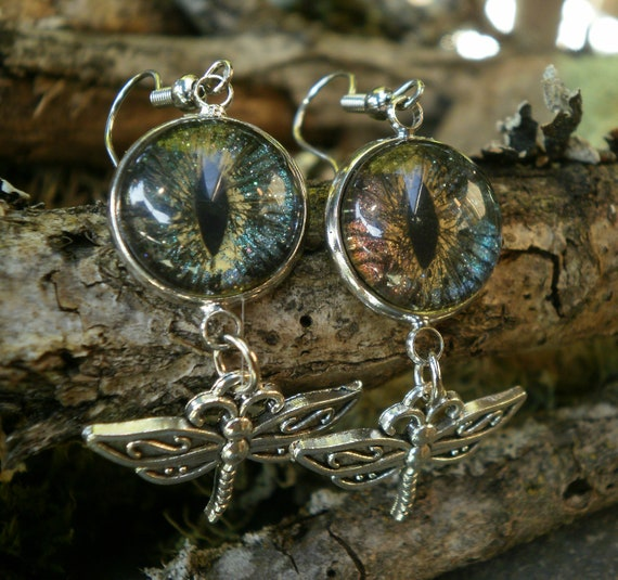 Gothic Steampunk Colorshift Blue/Pink Evil Eye Dragonfly Earrings