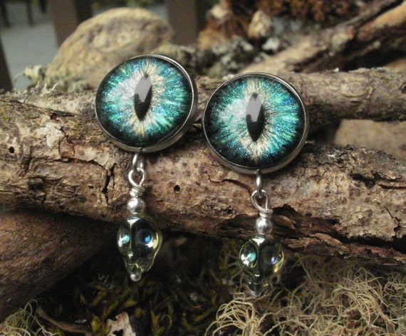 Gothic Steampunk Blue Green Snake Eye Post Earrings with Green Tiny Skulls