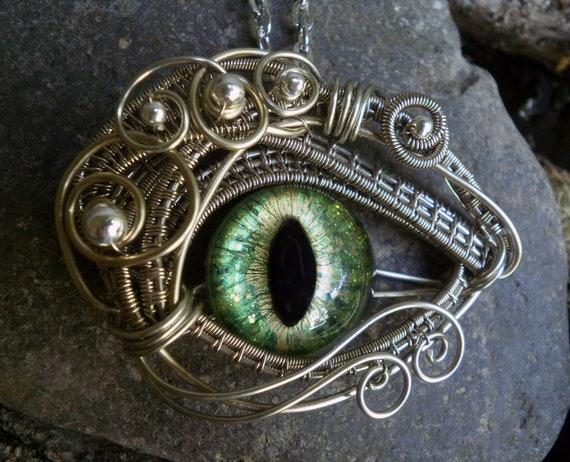 Gothic Steampunk Small Green Eye Pendant