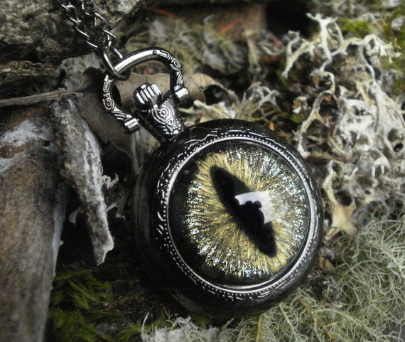 Gothic Steampunk Dark Galaxy Evil Eye Black Pocket Watch