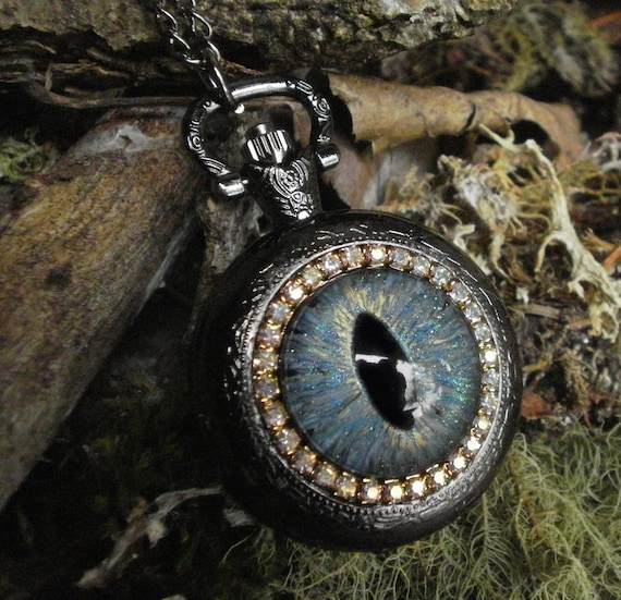 Gothic Steampunk Milky Blue Evil Eye Black Pocket Watch