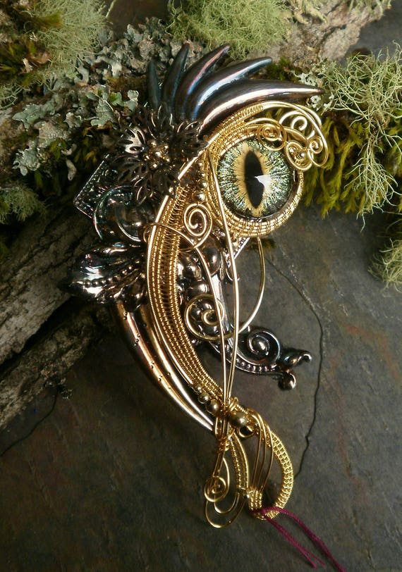 Gothic Steampunk Pin Pendant in Gold with Galaxy Eye