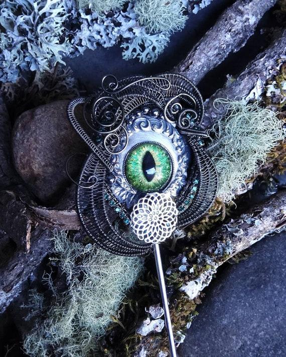 Gothic Steampunk Green Evil Eye Hair Stick