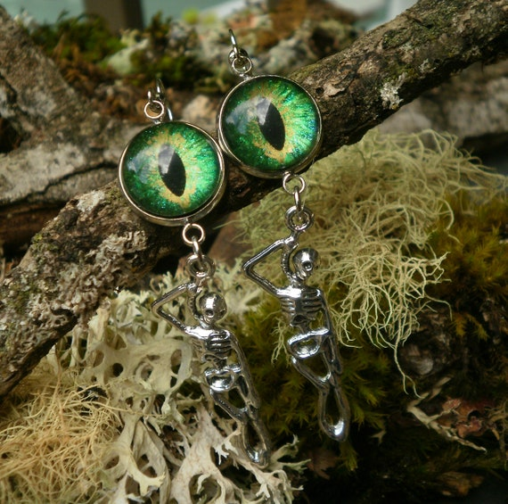Gothic Steampunk Green Evil Eye and Hanging Skeleton Earrings Creepy