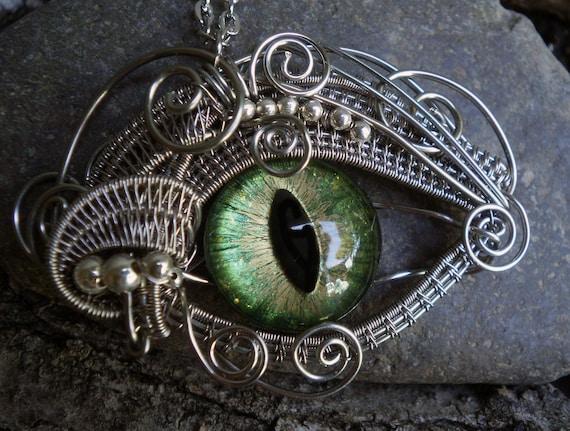Gothic Steampunk Medium Green Eye Pendant