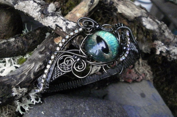 Gothic Steampunk Blue Green Evil Eye Bracelet Bangle Size 7 to 7 1/2