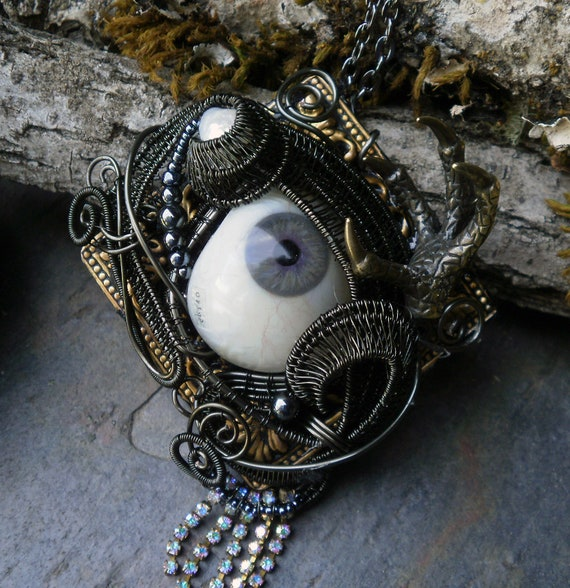 Gothic Steampunk Antique Prosthetic Grey Eye Pendant with Rhinestone Fringe, Pearl and Claw