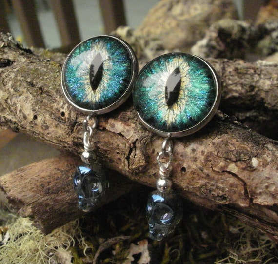 Gothic Steampunk Blue Green Snake Eye Post Earrings with Blue Tiny Skulls