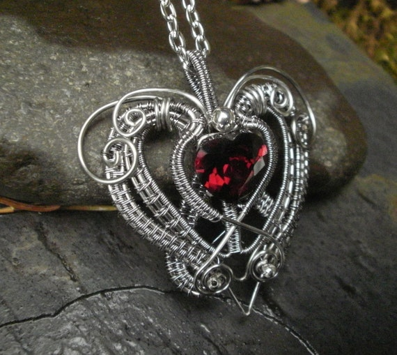 SOLD! Gothic Victorian Heart Pendant with Red Cubic Zirconia