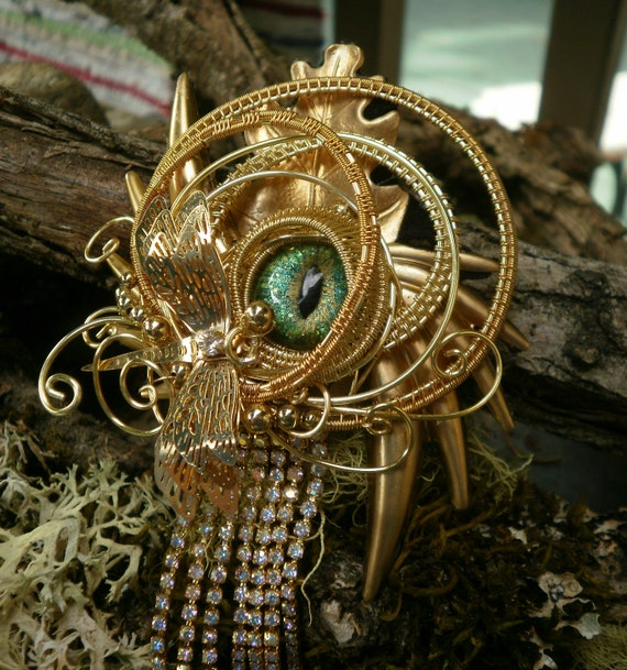 Gothic Steampunk Dragonfly Green Eye Waterfall Pin Brooch